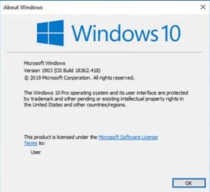 Windows OS build