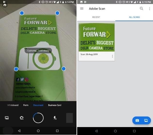 adobe scan, best camscanner alternative