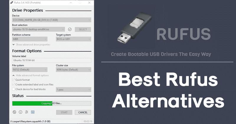 rufus alternative, top 10 rufus alternative, best rufus alternative, this version of rufus doesn't support iso, unetbootin alternative