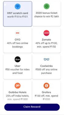 Google Pay HNY Scratch Card worth Rs. 10 to Rs. 101