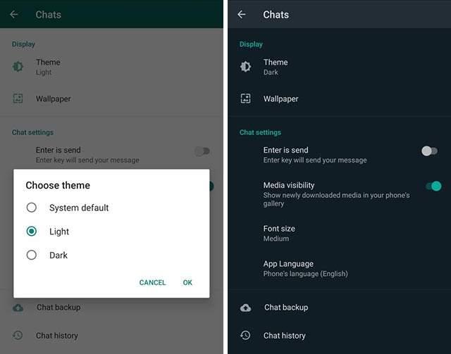 whatsapp dark mode theme, whatsapp android dark mode, techycoder, whatsapp theme