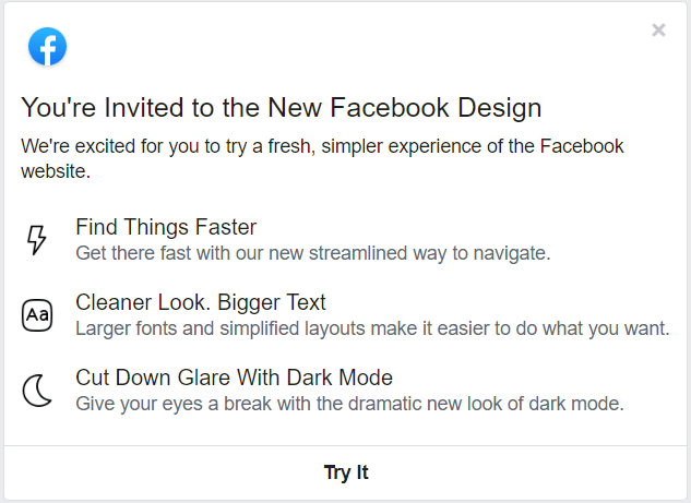 Facebook new deisgn ui