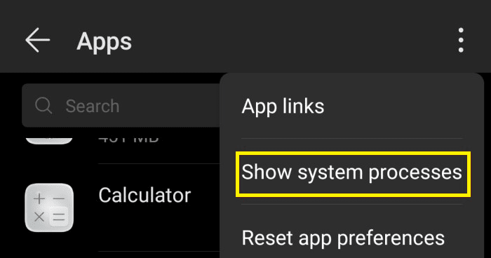 show system processes app on android, run cqatest