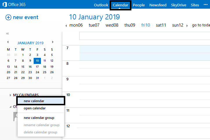 Creating a Shared Calendar in Office 365