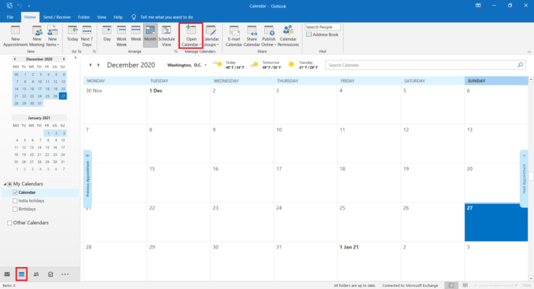 add a calendar in outlook
