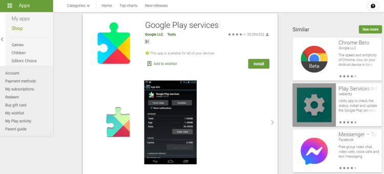 Google Play Services Google Play Store Page, Disable Google Play Services